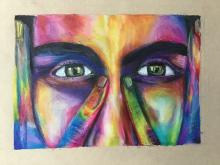 Close-up drawing of face with rainbow colors as highlights