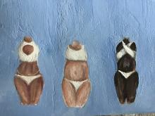 Three female torsos, different skin tones, in bikinis