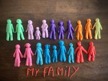 Play-doh figures in a rainbow of colors