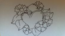 line darwing of flowers and heart