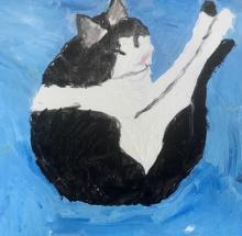 Oil painting, black and white cat on a blue background