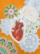 Pen and marker drawing of an anatomical heart over lacy shapes