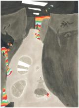 Marker drawing of a path through cliffs with pops of color strata