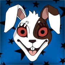 Fantastical rabbit face, digital illustration
